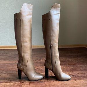 Vince rustic olive leather 8M Knee hi Hi Heel Boot